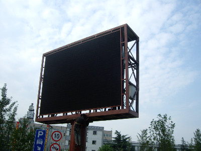 单立柱led显示屏钢结构安装施工